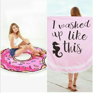 """Other - """"I washed up like this"""" round beach towel"""